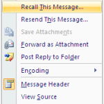 How to recall a sent E-mail Message in outlook
