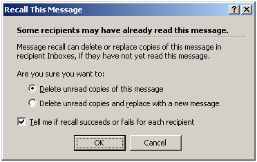 recall a sent email message
