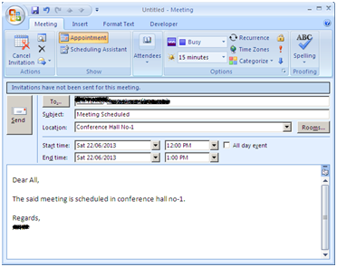 How to Schedule or Reschedule a meeting request in Microsoft Office