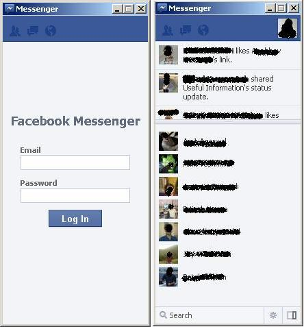 Facebook Messenger Login Screen