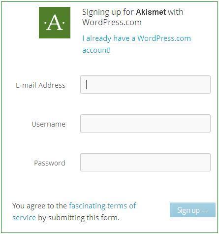 Akismet Sign Up process