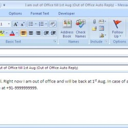 Out of Office Auto Reply