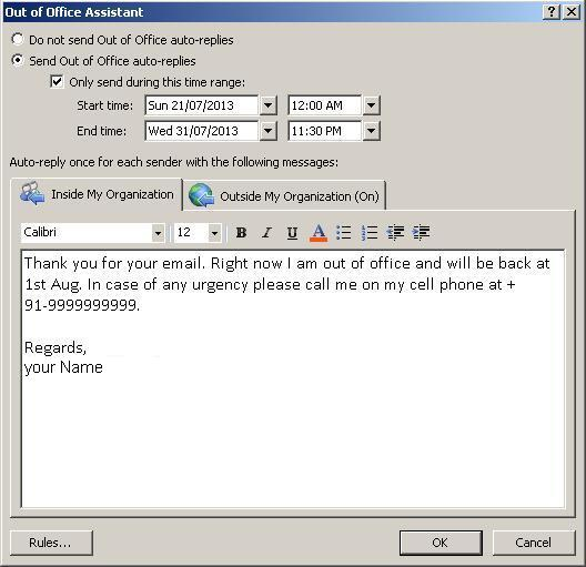2207201302 Out Of Office Auto Reply