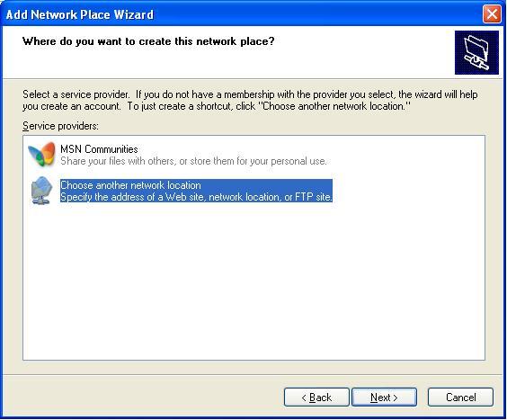 270720132 Windows XP Network Place as FTP Client