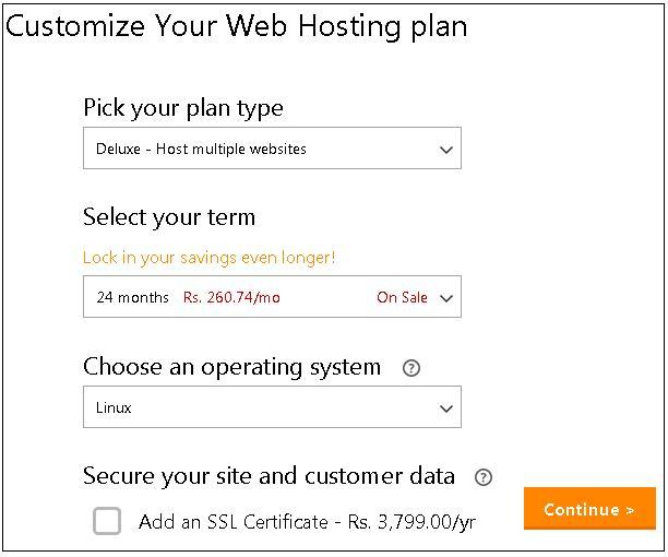 010920132 GoDaddy Web Hosting Plan