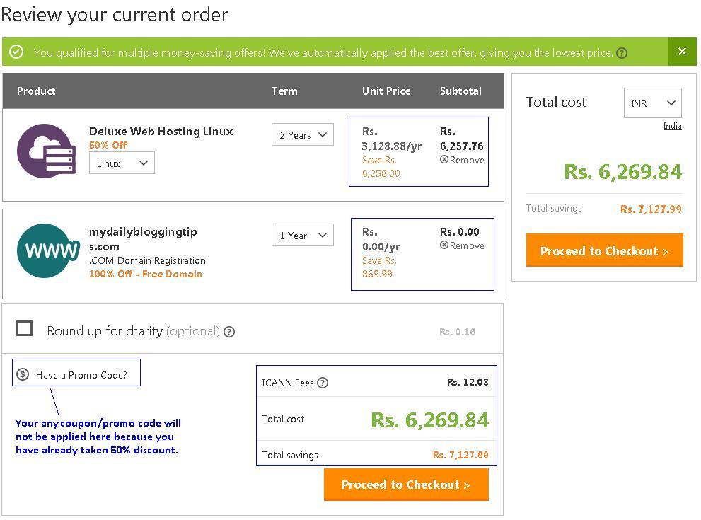 010920134 GoDaddy Hosting Order Review