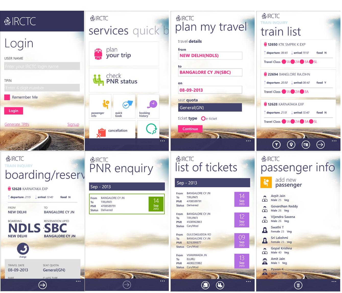 IRCTC Windows Phone App
