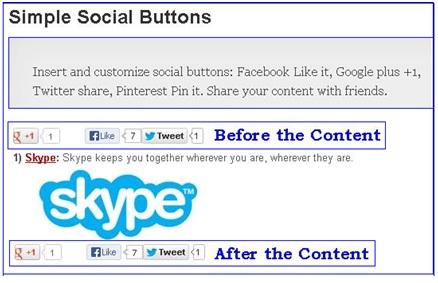 Simple Social Buttons Plugin