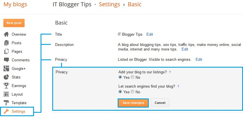 Basic Settings in BlogSpot