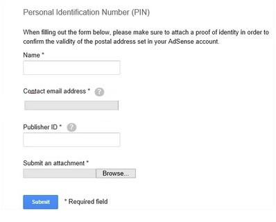 Google Adsense PIN Form