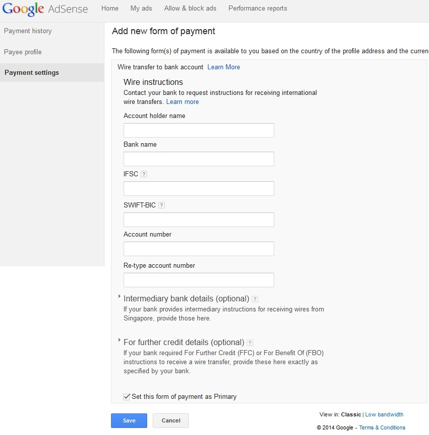 Google Adsense Add new form of payment page