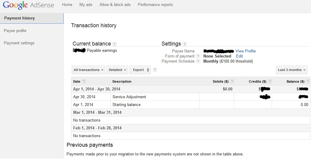 Google Adsense Payment history page