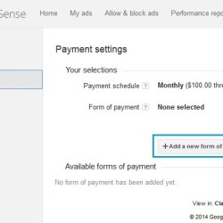 Google Adsense Payments Settings Page