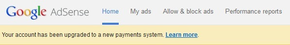 Google Adsense Payments System Upgrade message