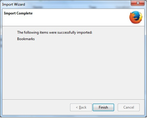 Mozilla Import Item Successfully
