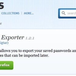 Password exporter firefox extension