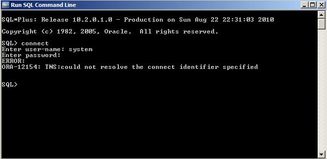 ORA 12154 Error