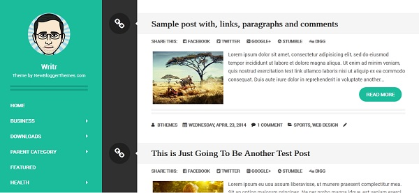 Writr Blogger Template