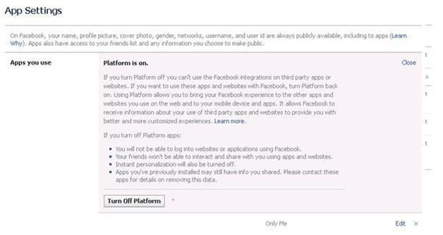 Facebook App Settings