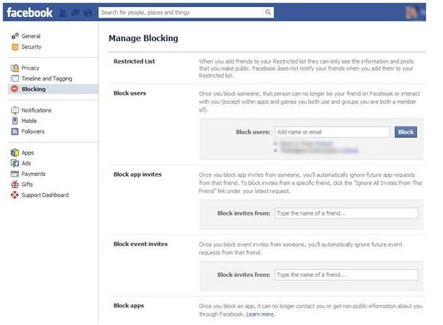 Facebook Manage Blocking