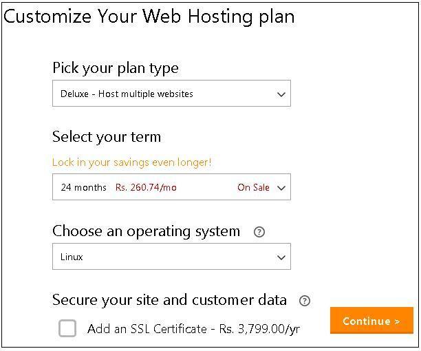 010920132 GoDaddy Web Hosting Plan