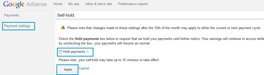 Hold payments for EFT in Google Adsense
