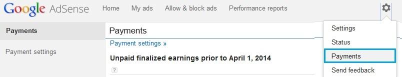 Payment settings in Google Adsense