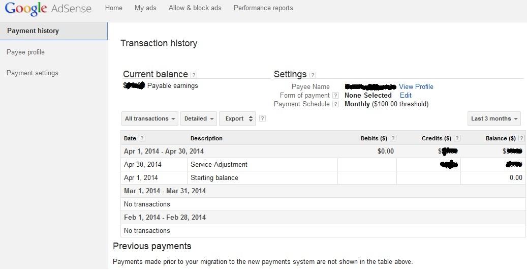 Google Adsense Payment history page