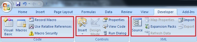 Display the Developer tab in the Toolbar