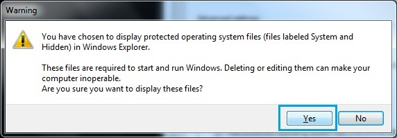 Unhide Protected Operating System Files
