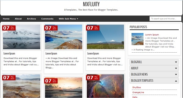 Mxfluity Blogger Template
