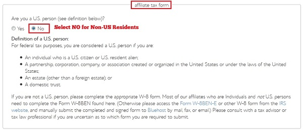 How to fill out BlueHost Affiliate Tax form for Non-US Residents